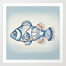 BLUE FISH Digital Painting Art Print