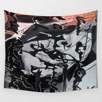 women Wall Tapestries featuring black, women by  MuDi