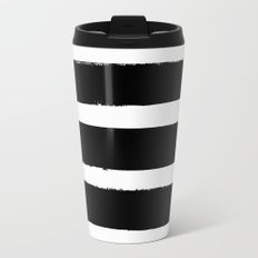 Black & White Paint Stripes by Friztin Metal Travel Mug