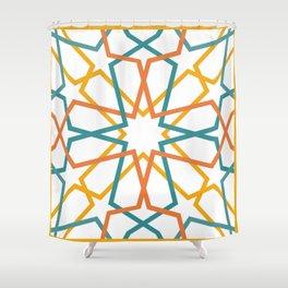 Orange Yellow Turquoise Geometric Tile Pattern Shower Curtain