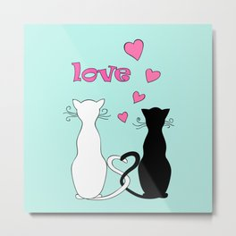 Couple cats with love Metal Print