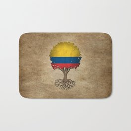 Vintage Tree of Life with Flag of Colombia Bath Mat