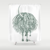 beast Shower Curtains featuring Horny Beast by TAOJB
