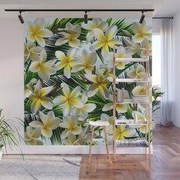 Plumeria on Palm Leaves Wall Mural
