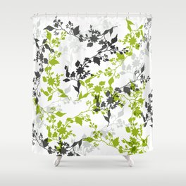 Branches and Leaves in Green Gray and Black on White Shower Curtain