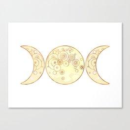 Triple Moon - Golden Canvas Print
