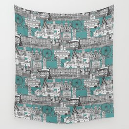 London toile blue Wall Tapestry