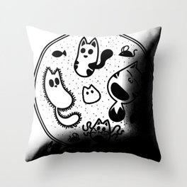 Meowcrobiology Throw Pillow