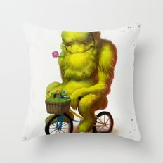 Bike Monster 1 Throw Pillow
