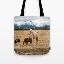 Mountain Horse - Western Style in the Grand Tetons Tote Bag