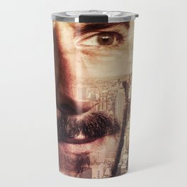 Double exposure portrait in nyc Travel Mug