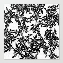 Toile Black and White Tangled Branches and Leaves Canvas Print