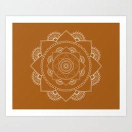 Mandala 01 - White on Chestnut Brown Art Print
