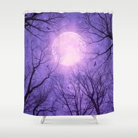 tolkien Shower Curtains featuring May It Be A Light (Dark Forest Moon II) by soaring anchor designs