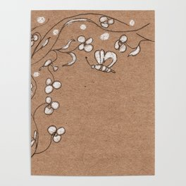 Floral pattern with butterfly Poster
