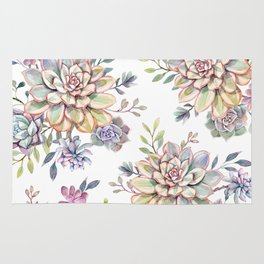 succulent watercolor 10 Rug