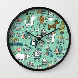 Christmas Time, Christmas Critter, Aqua Blue, Holly Jolly Holiday Pattern Wall Clock