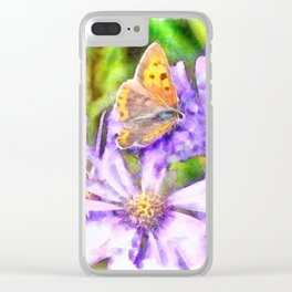Orange Wings and Purple Petals Clear iPhone Case