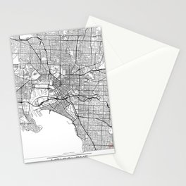 Melbourne Map White Stationery Cards