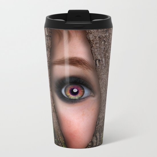 Beautiful Face trapped in a tree trunk Metal Travel Mug