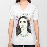 pocahontas V-neck T-shirts featuring Pocahontas by An Bidault Terra