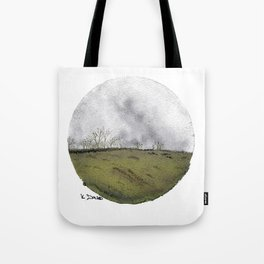 Cicular minimalist watercolour and ink landscape- grey and green Tote Bag