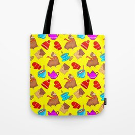Cute winter seamless pattern. Llamas, woolen mittens, hats, chocolate bars, hot cocoa, marshmallows Tote Bag