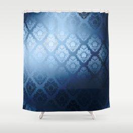 """Navy blue Damask Pattern"" Shower Curtain"