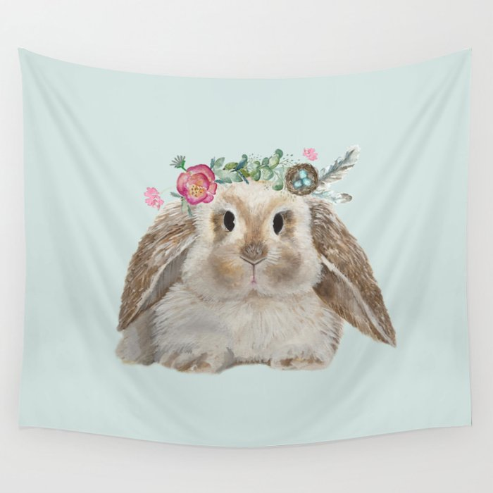 Spring Bunny with Floral Crown Wall Tapestry