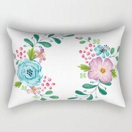 Bouquet Violet, Green AND Blue Flower Rectangular Pillow