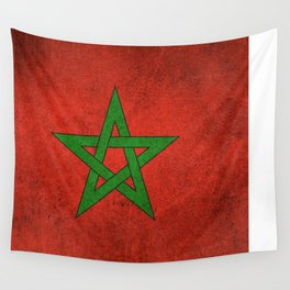 Old and Worn Distressed Vintage Flag of Morocco Wall Tapestry