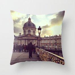 Lovers Bridge, Paris Throw Pillow