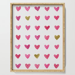 Watercolor Hearts - Pink, Red and Gold Serving Tray
