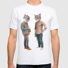A Cats Night Out MEDIUM Ash Grey Mens Fitted Tee