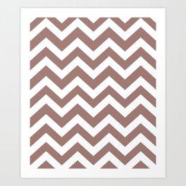 Burnished brown - violet color - Zigzag Chevron Pattern Art Print