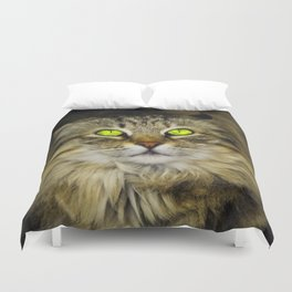 Cat with Green Eyes Duvet Cover