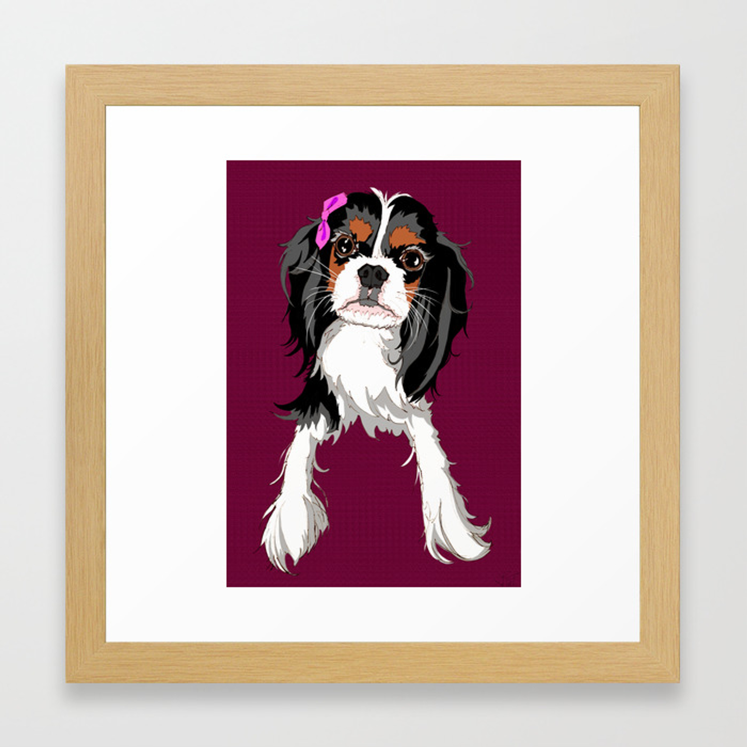 Tri Color Cavalier King Charles Spaniel Puppy Framed Art Print By Baroque Society6