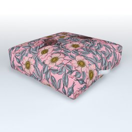 Wrens in the roses Outdoor Floor Cushion