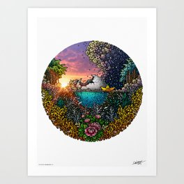 Broken Moon - Colored - White Background Art Print