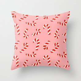 Candy Canes - Pink Throw Pillow