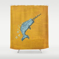 narwhal Shower Curtains featuring Narwhal by Tamm + Kit