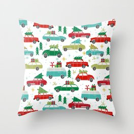 Christmas holiday vintage cars classic festive christmas tree snowflakes winter season Throw Pillow