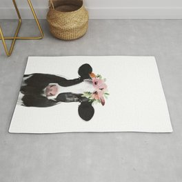 Cow with flower crown Rug