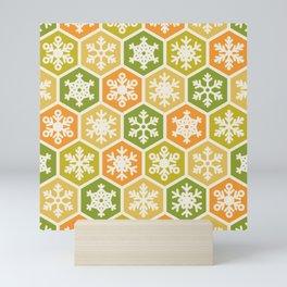 Nordic Yellow Green Orange Honeycomb Christmas Snowflake Mini Art Print