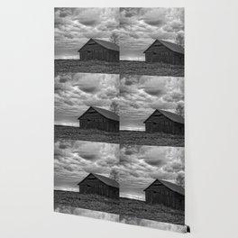 Finland Farm (Black and White) Wallpaper