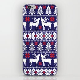 Christmas pixel Blue pattern with xmas tree, snowflakes and deers iPhone Skin
