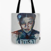 parks Tote Bags featuring Rosa Parks by Debbie Chessell