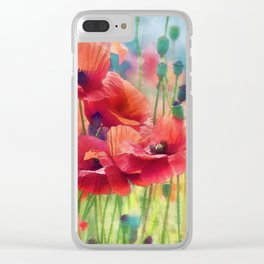 Poppy Parade Clear iPhone Case