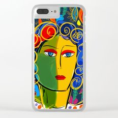 The Green Yellow Pop Girl Portrait Clear iPhone Case