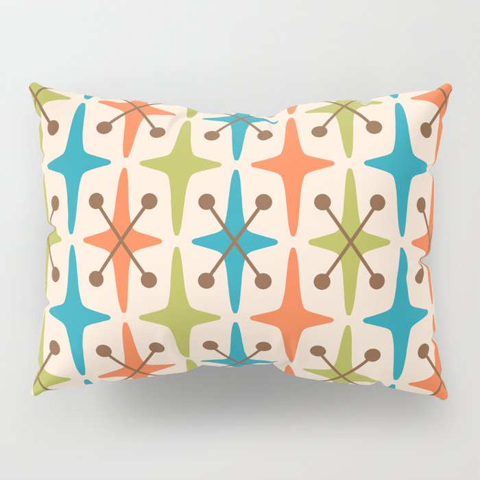 Mid Century Modern Abstract Star Pattern 441 Orange Brown Turquoise Chartreuse Pillow Sham